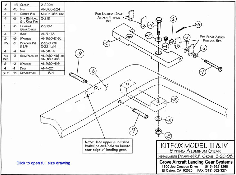 landing gear and axle installation instructions for the kitfox model iii& iv
